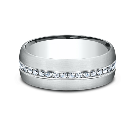 7.5MM WHITE GOLD SATIN FINISHED COMFORT FIT DIAMOND BAND CF717573W 2 - 7.5MM WHITE GOLD SATIN-FINISHED COMFORT-FIT DIAMOND BAND CF717573W