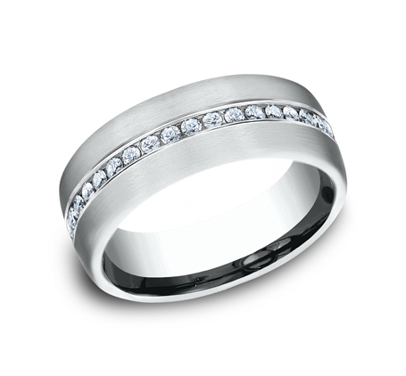 7.5MM WHITE GOLD SATIN FINISHED COMFORT FIT DIAMOND BAND CF717573W - 7.5MM WHITE GOLD SATIN-FINISHED COMFORT-FIT DIAMOND BAND CF717573W