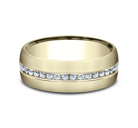 7.5MM YELLOW GOLD SATIN FINISHED COMFORT FIT DIAMOND BAND CF717573Y 2 - 7.5MM YELLOW GOLD SATIN-FINISHED COMFORT-FIT DIAMOND BAND CF717573Y
