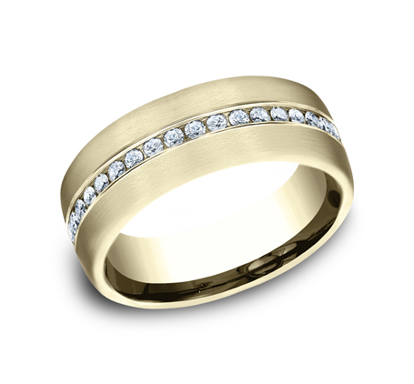 7.5MM YELLOW GOLD SATIN FINISHED COMFORT FIT DIAMOND BAND CF717573Y - 7.5MM YELLOW GOLD SATIN-FINISHED COMFORT-FIT DIAMOND BAND CF717573Y