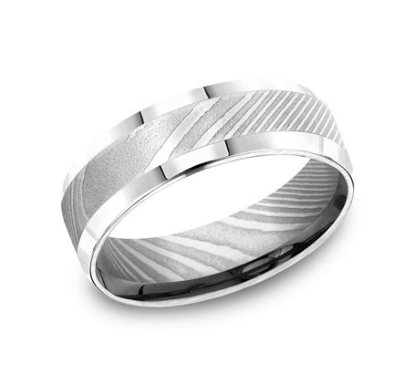 7MM DAMASCUS STEEL COMFORT FIT BAND CF67416DS - 7MM DAMASCUS STEEL COMFORT-FIT BAND CF67416DS