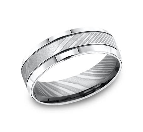 7MM HIGH POLISHED DAMASCUS STEEL BAND CF67675DS - 7MM HIGH-POLISHED DAMASCUS STEEL BAND CF67675DS