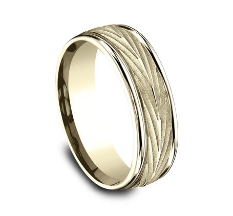 7MM YELLOW GOLD COMFORT FIT BAND RECF77337Y 1 - 7MM YELLOW GOLD COMFORT-FIT BAND RECF77337Y