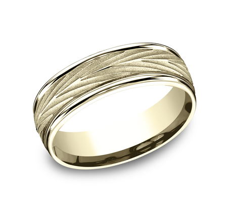 7MM YELLOW GOLD COMFORT FIT BAND RECF77337Y - 7MM YELLOW GOLD COMFORT-FIT BAND RECF77337Y