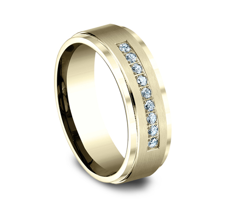 7MM YELLOW GOLD COMFORT FIT PAVE SET BAND CF67380Y 1 - 7MM YELLOW GOLD COMFORT-FIT PAVE SET BAND CF67380Y