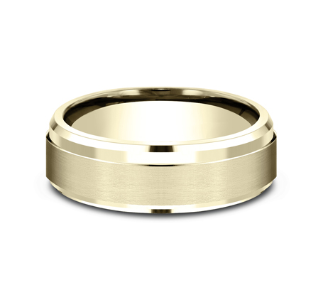 7MM YELLOW GOLD COMFORT FIT SATIN FINISHED BAND CF67351Y 2 - 7MM YELLOW GOLD COMFORT-FIT SATIN-FINISHED BAND CF67351Y