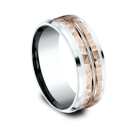 8MM 14K TWO TONE WHITE AND ROSE GOLD DESIGN BAND CF438185 1 - 8MM 14K TWO TONE WHITE AND ROSE GOLD DESIGN BAND CF438185