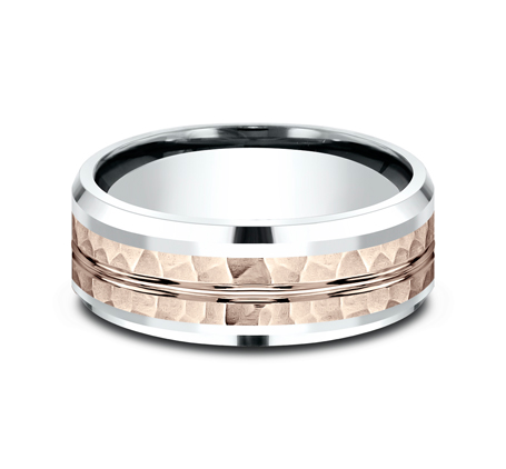 8MM 14K TWO TONE WHITE AND ROSE GOLD DESIGN BAND CF438185 2 - 8MM 14K TWO TONE WHITE AND ROSE GOLD DESIGN BAND CF438185