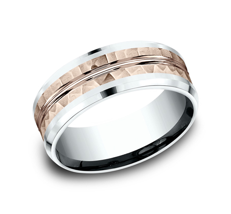 8MM 14K TWO TONE WHITE AND ROSE GOLD DESIGN BAND CF438185 - 8MM 14K TWO TONE WHITE AND ROSE GOLD DESIGN BAND CF438185