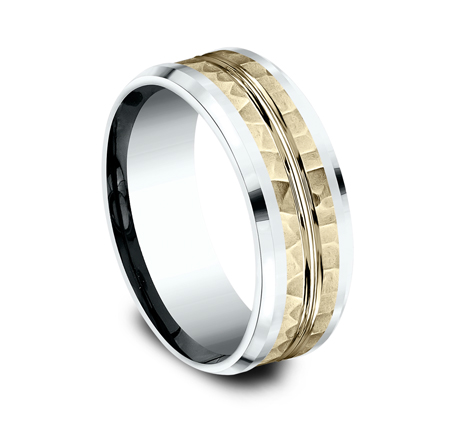 8MM 14K TWO TONE WHITE AND YELLOW GOLD DESIGN BAND CF418185 1 - 8MM 14K TWO TONE WHITE AND YELLOW GOLD DESIGN BAND CF418185