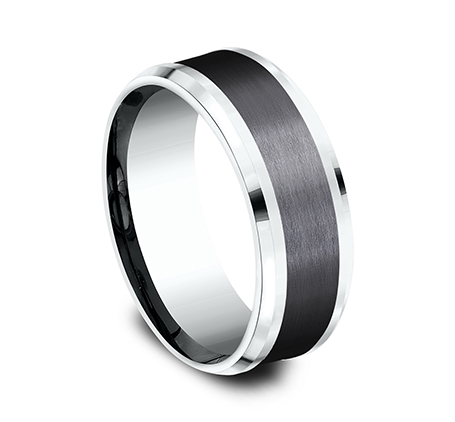 8MM 14K WHITE GOLD AND BLACK TITANIUM DESIGN BAND CF458010BKTW 1 - 8MM 14K WHITE GOLD AND BLACK TITANIUM DESIGN BAND CF458010BKTW