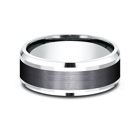 8MM 14K WHITE GOLD AND BLACK TITANIUM DESIGN BAND CF458010BKTW 2 - 8MM 14K WHITE GOLD AND BLACK TITANIUM DESIGN BAND CF458010BKTW