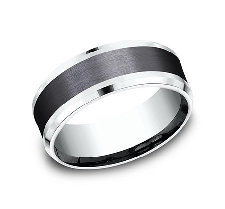 8MM 14K WHITE GOLD AND BLACK TITANIUM DESIGN BAND CF458010BKTW - 8MM 14K WHITE GOLD AND BLACK TITANIUM DESIGN BAND CF458010BKTW