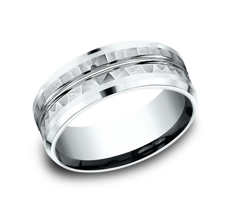 8MM 14K WHITE GOLD DESIGN BAND CF408185W - 8MM 14K WHITE GOLD DESIGN BAND CF408185W