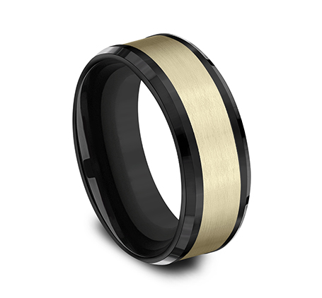 8MM 14K YELLOW GOLD AND BLACK TITANIUM DESIGN BAND CF378010BKTY 1 - 8MM 14K YELLOW GOLD AND BLACK TITANIUM DESIGN BAND CF378010BKTY