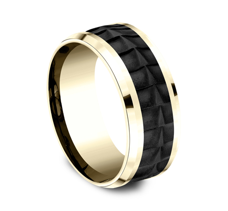 8MM BLACK TITANIUM AND YELLOW GOLD BAND CF449765BKTY 1 - 8MM BLACK TITANIUM AND YELLOW GOLD BAND CF449765BKTY