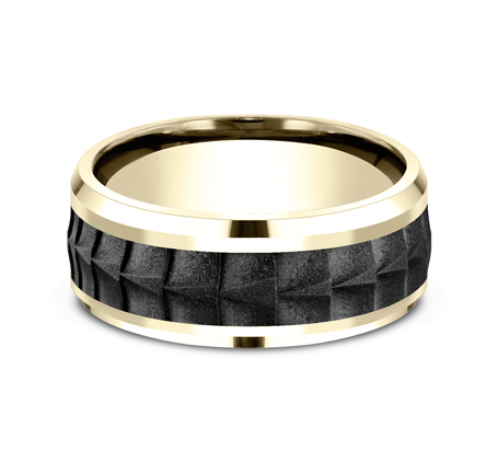 8MM BLACK TITANIUM AND YELLOW GOLD BAND CF449765BKTY 2 - 8MM BLACK TITANIUM AND YELLOW GOLD BAND CF449765BKTY