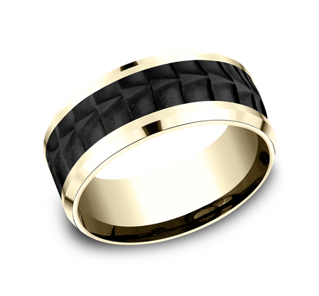 8MM BLACK TITANIUM AND YELLOW GOLD BAND CF449765BKTY - 8MM BLACK TITANIUM AND YELLOW GOLD BAND CF449765BKTY