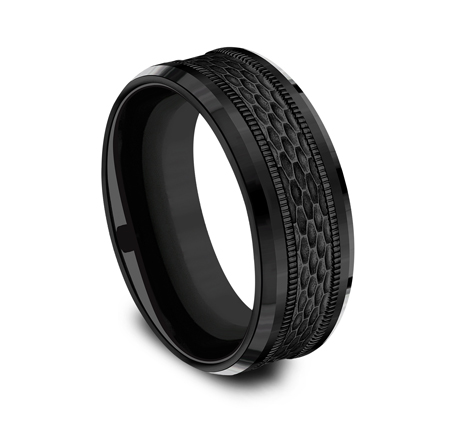 8MM BLACK TITANIUM DESIGN BAND CF368497BKT 1 - 8MM BLACK TITANIUM DESIGN BAND CF368497BKT