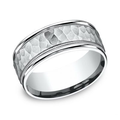 8MM COMFORT FIT CARVED DESIGN BAND CF158309W 400x400 - 8MM COMFORT-FIT CARVED DESIGN BAND CF158309W