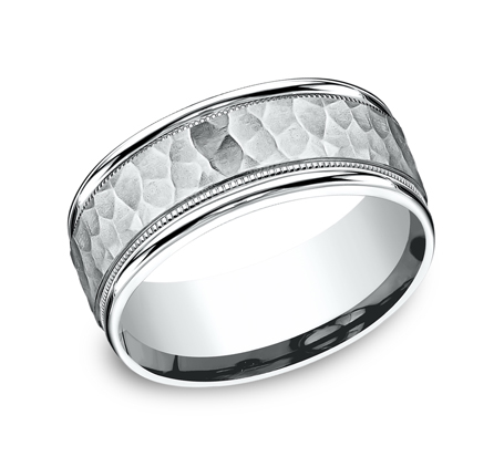 8MM COMFORT FIT CARVED DESIGN BAND CF158309W - 8MM COMFORT-FIT CARVED DESIGN BAND CF158309W