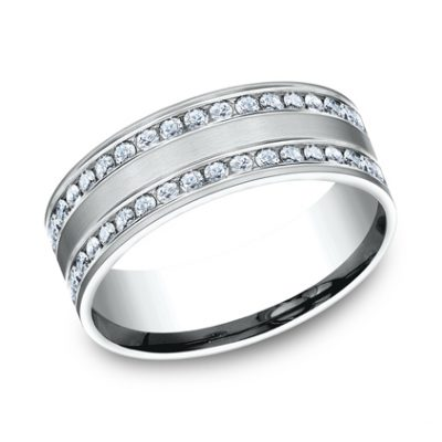 8MM COMFORT FIT CHANNEL SET BRUSHED DIAMOND ETERNITY BAND CF528551W 400x400 - 8MM COMFORT-FIT CHANNEL SET BRUSHED DIAMOND ETERNITY BAND CF528551W
