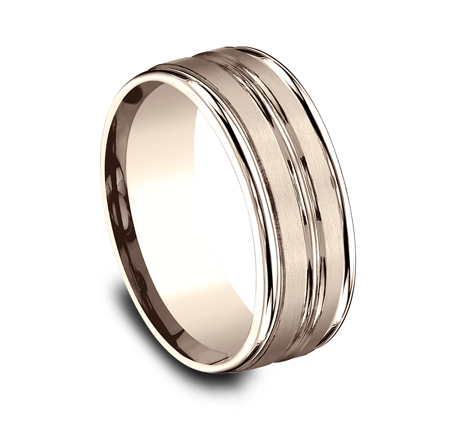8MM COMFORT FIT SATIN FINISHED CARVED DESIGN BAND RECF58180R 1 - 8MM COMFORT-FIT SATIN-FINISHED CARVED DESIGN BAND RECF58180R