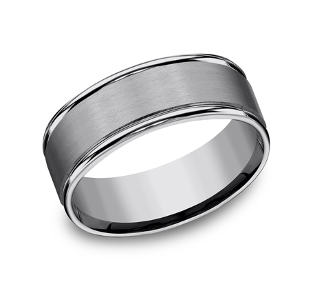 8MM COMFORT FIT TUNGSTEN BAND RECF7802STG - 8MM COMFORT-FIT TUNGSTEN BAND RECF7802STG