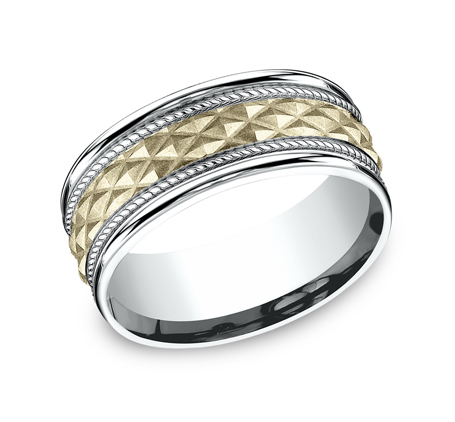 8MM EDGY YELLOW GOLD DESIGN BAND CF178040 - 8MM EDGY YELLOW GOLD DESIGN BAND CF178040