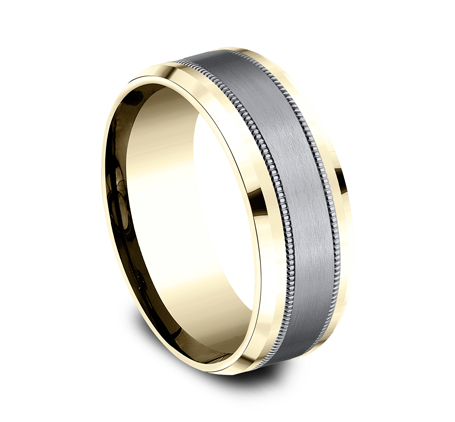 8MM MULTI MATERIAL YELLOW GOLD DESIGN BAND CF448013SGTAY 1 - 8MM MULTI-MATERIAL YELLOW GOLD DESIGN BAND CF448013SGTAY