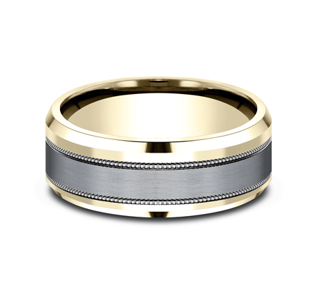 8MM MULTI MATERIAL YELLOW GOLD DESIGN BAND CF448013SGTAY 2 - 8MM MULTI-MATERIAL YELLOW GOLD DESIGN BAND CF448013SGTAY