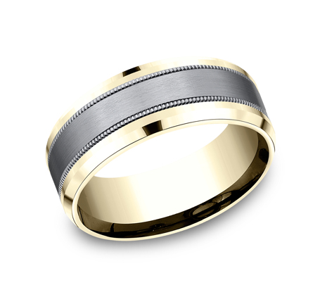 8MM MULTI MATERIAL YELLOW GOLD DESIGN BAND CF448013SGTAY - 8MM MULTI-MATERIAL YELLOW GOLD DESIGN BAND CF448013SGTAY