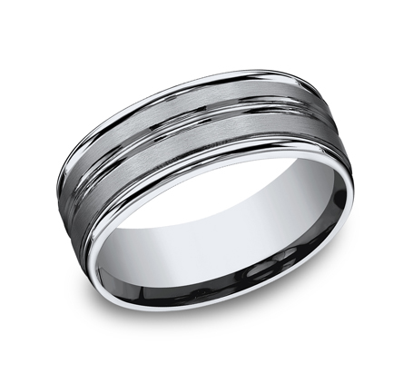 8MM TITANIUM COMFORT FIT SATIN FINISHED BAND RECF58180T - 8MM TITANIUM COMFORT-FIT SATIN-FINISHED BAND RECF58180T