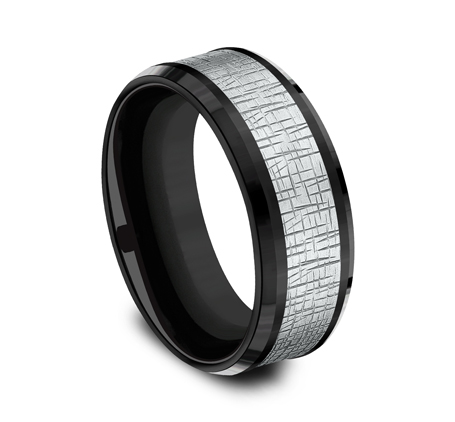 8MM WHITE GOLD CENTER ON BLACK TITANIUM DESIGN BAND CF388752BKTW 1 - 8MM WHITE GOLD CENTER ON BLACK TITANIUM DESIGN BAND CF388752BKTW