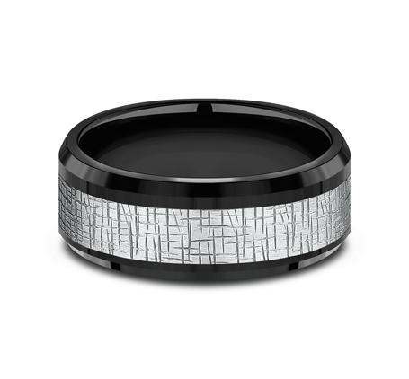 8MM WHITE GOLD CENTER ON BLACK TITANIUM DESIGN BAND CF388752BKTW 2 - 8MM WHITE GOLD CENTER ON BLACK TITANIUM DESIGN BAND CF388752BKTW