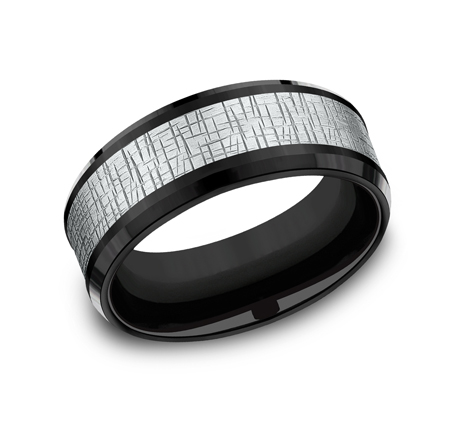 8MM WHITE GOLD CENTER ON BLACK TITANIUM DESIGN BAND CF388752BKTW - 8MM WHITE GOLD CENTER ON BLACK TITANIUM DESIGN BAND CF388752BKTW