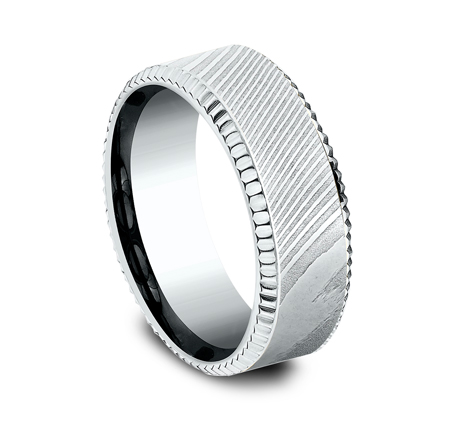 8MM WHITE GOLD DESIGN BAND CF348527DSW 1 - 8MM WHITE GOLD DESIGN BAND CF348527DSW