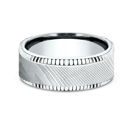 8MM WHITE GOLD DESIGN BAND CF348527DSW 2 - 8MM WHITE GOLD DESIGN BAND CF348527DSW