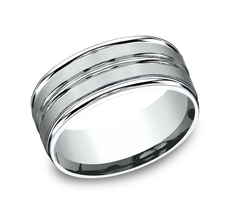9MM ARGENTIUM SILVER COMFORT FIT BAND RECF59180SV - 9MM ARGENTIUM SILVER COMFORT-FIT BAND RECF59180SV