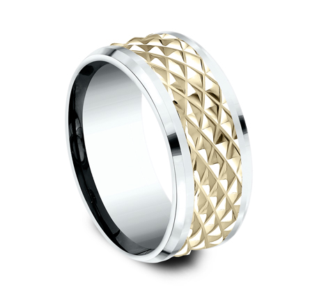 9MM EDGY YELLOW GOLD DESIGN BAND CF419679 1 - 9MM EDGY YELLOW GOLD DESIGN BAND CF419679