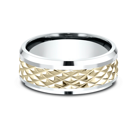 9MM EDGY YELLOW GOLD DESIGN BAND CF419679 2 - 9MM EDGY YELLOW GOLD DESIGN BAND CF419679