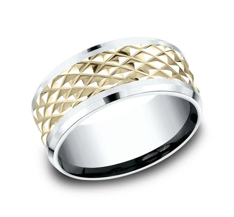 9MM EDGY YELLOW GOLD DESIGN BAND CF419679 - 9MM EDGY YELLOW GOLD DESIGN BAND CF419679