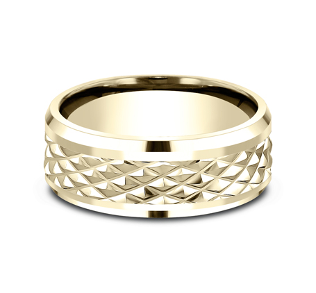 9MM YELLOW GOLD DESIGN BAND CF409679Y 2 - 9MM YELLOW GOLD DESIGN BAND CF409679Y