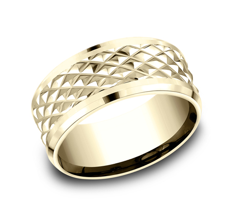9MM YELLOW GOLD DESIGN BAND CF409679Y - 9MM YELLOW GOLD DESIGN BAND CF409679Y