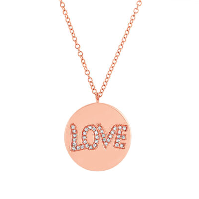 "0.08ct 14k Rose Gold Diamond Love Pendant SC55001940 400x400 - 0.08ct 14k Rose Gold Diamond ""Love"" Pendant SC55001940"