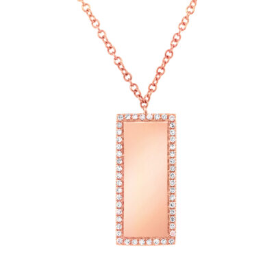 0.11ct 14k Rose Gold Diamond Bar ID Pendant SC55002349 400x400 - 0.11ct 14k Rose Gold Diamond Bar ID Pendant SC55002349