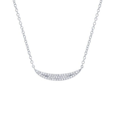 0.11ct 14k White Gold Diamond Pave Crescent Pendant SC55001916 400x400 - 0.11ct 14k White Gold Diamond Pave Crescent Pendant SC55001916