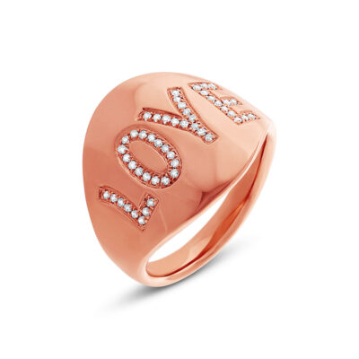 "0.14ct 14k Rose Gold Diamond Love Ring SC55001937 400x400 - 0.14ct 14k Rose Gold Diamond ""Love"" Ring SC55001937"