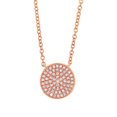 0.15ct 14k Rose Gold Diamond Pave Circle Pendant SC55002400 400x400 - 0.15ct 14k Rose Gold Diamond Pave Circle Pendant SC55002400