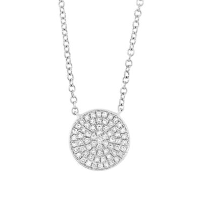 0.15ct 14k White Gold Diamond Pave Circle Pendant SC55002398 400x400 - 0.15ct 14k White Gold Diamond Pave Circle Pendant SC55002398